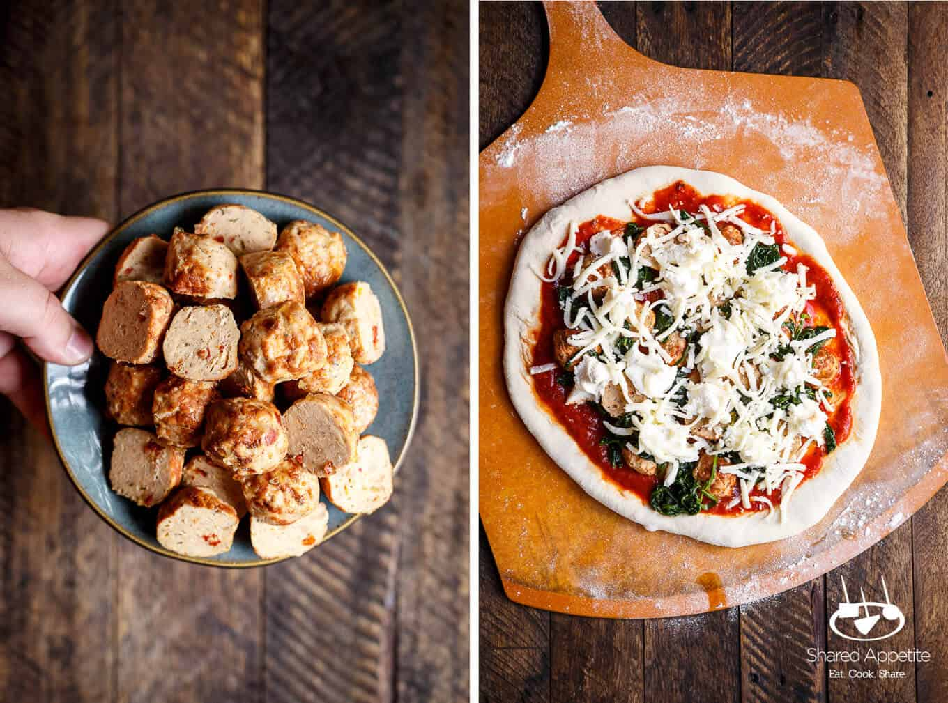 meatballs and showing the uncooked Meatball, Spinach, and Ricotta Pizza