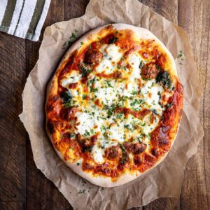 Meatball, Spinach, and Ricotta Pizza