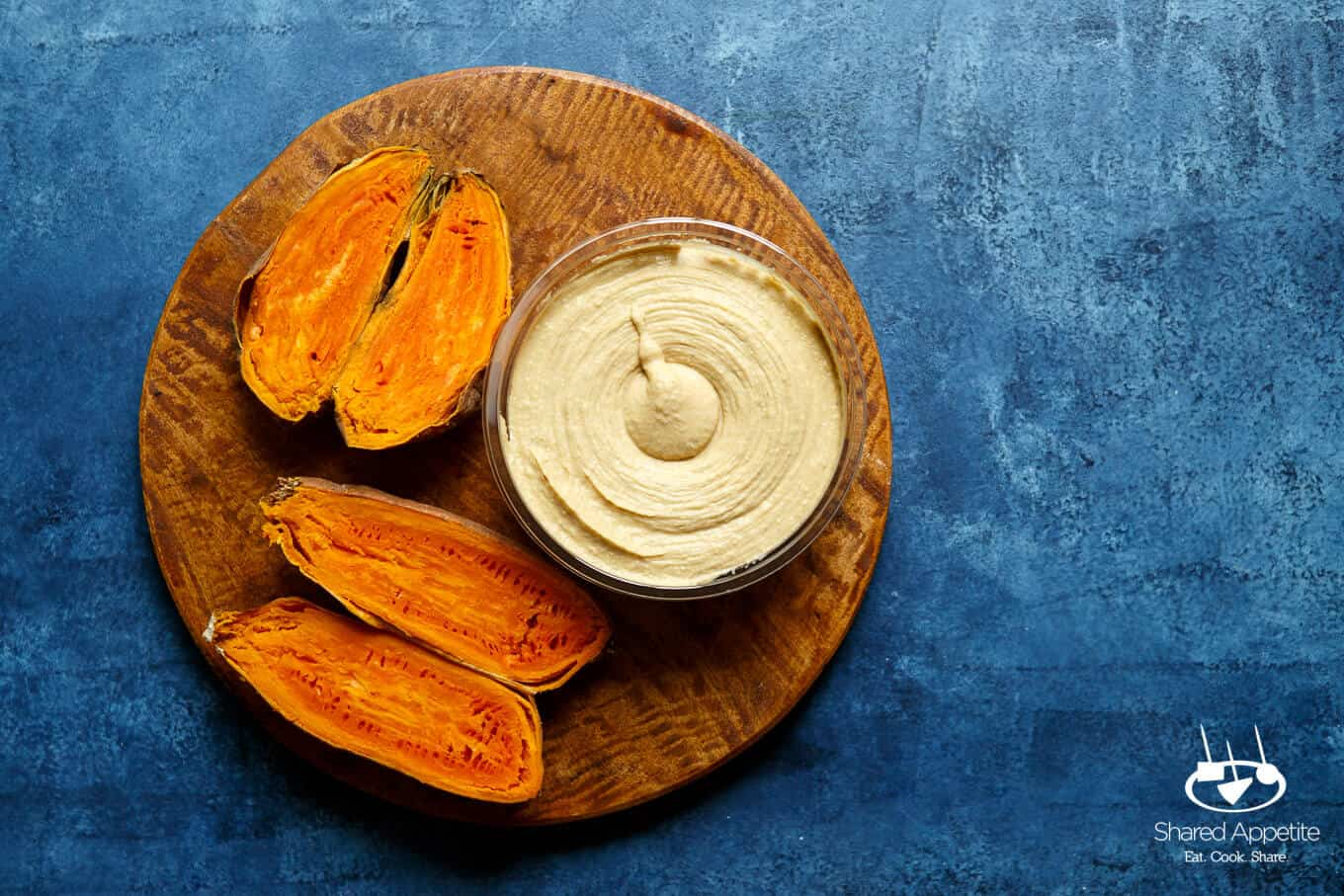 roasted sweet potatoes and hummus