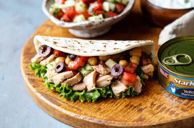 Mini Mediterranean Tuna Pita Wraps   sharedappetite.com
