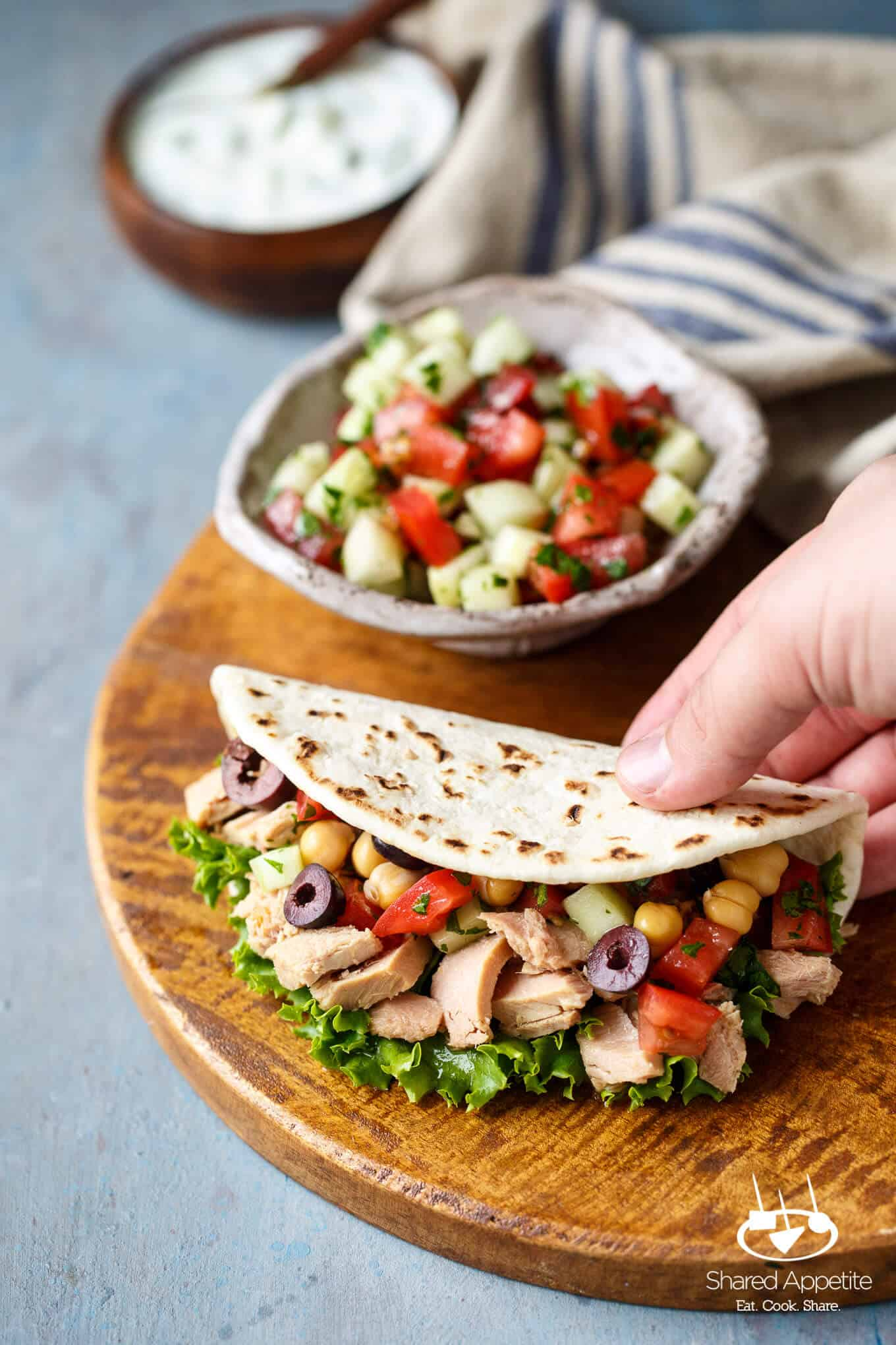 Mini Mediterranean Tuna Pita Wraps | sharedappetite.com