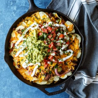 Skillet Loaded Taco Potato Chip Nachos | sharedappetite.com