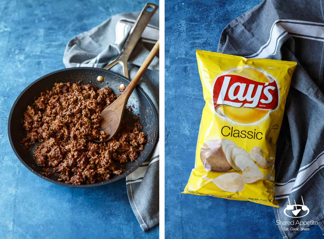 Taco Beef and Lay's Potato Chips for Skillet Loaded Taco Potato Chip Nachos | sharedappetite.com