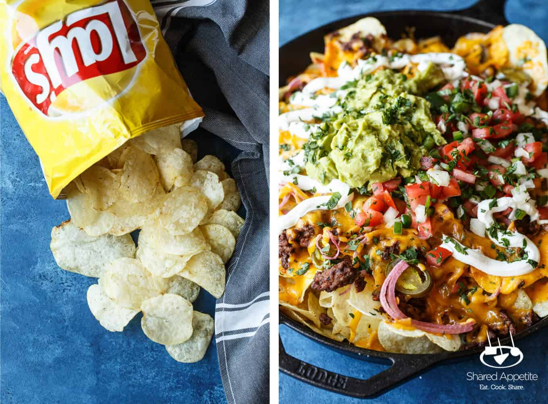 Potato Chips and Closeup of these Skillet Loaded Taco Potato Chip Nachos | sharedappetite.com