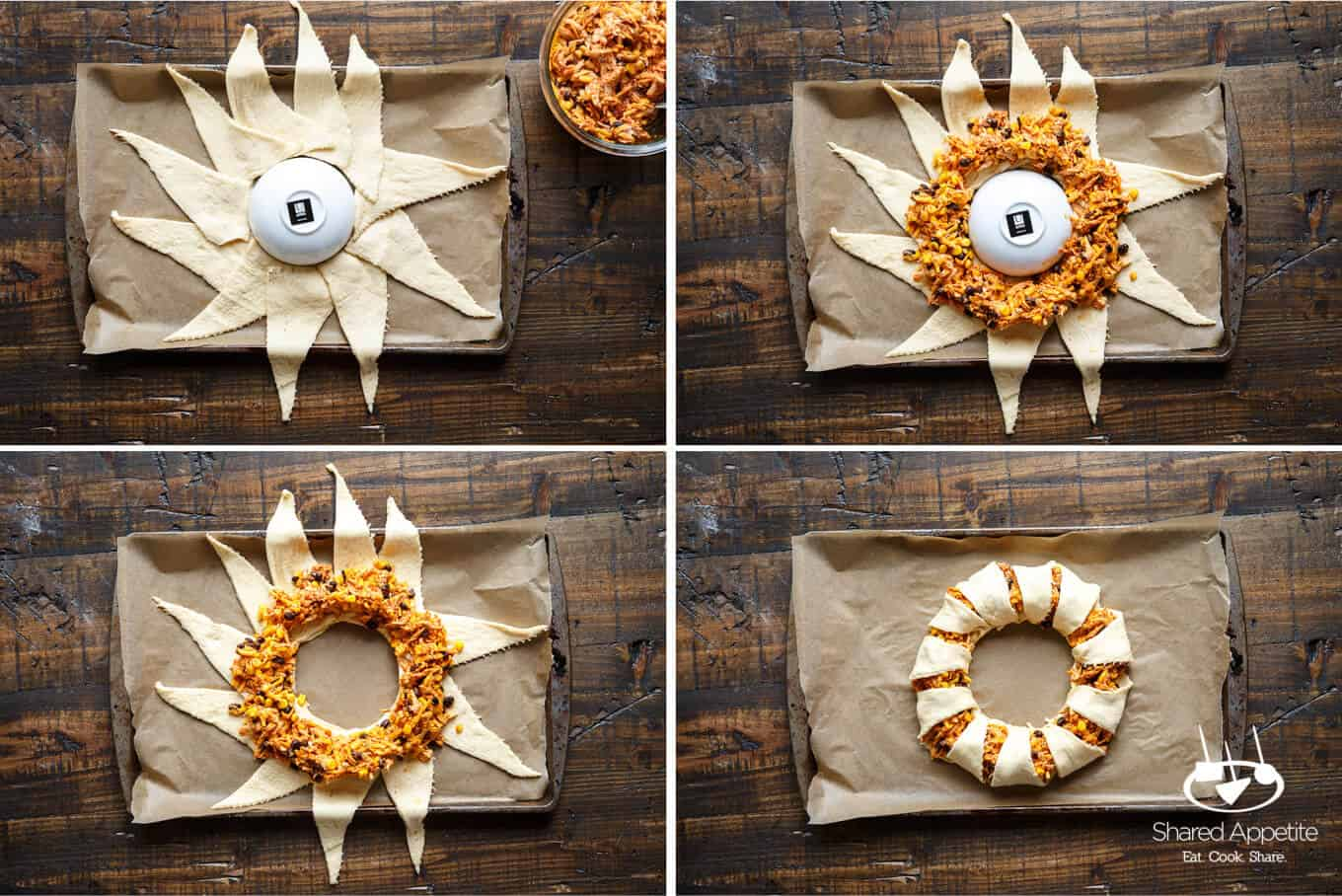 The process of assembling this Chicken Enchilada Crescent Ring | sharedappetite.com