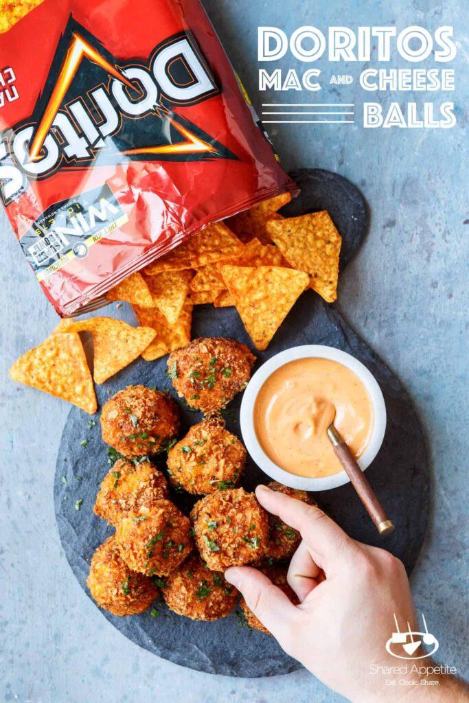 Grabbing a Doritos Mac and Cheese Balls | sharedappetite.com