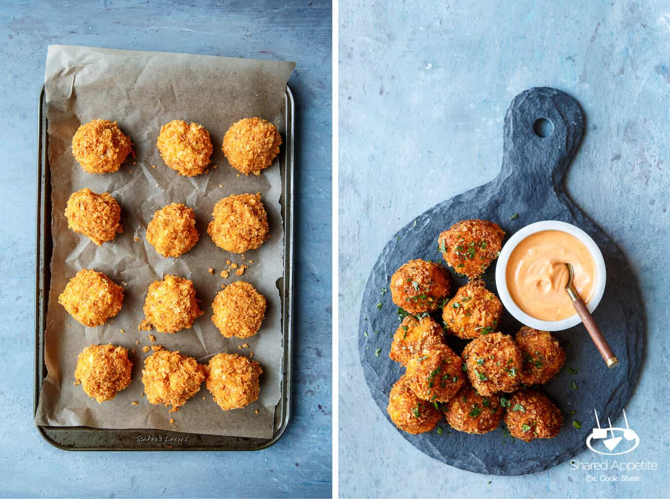 Before and After Frying the Doritos Mac and Cheese Balls | sharedappetite.com