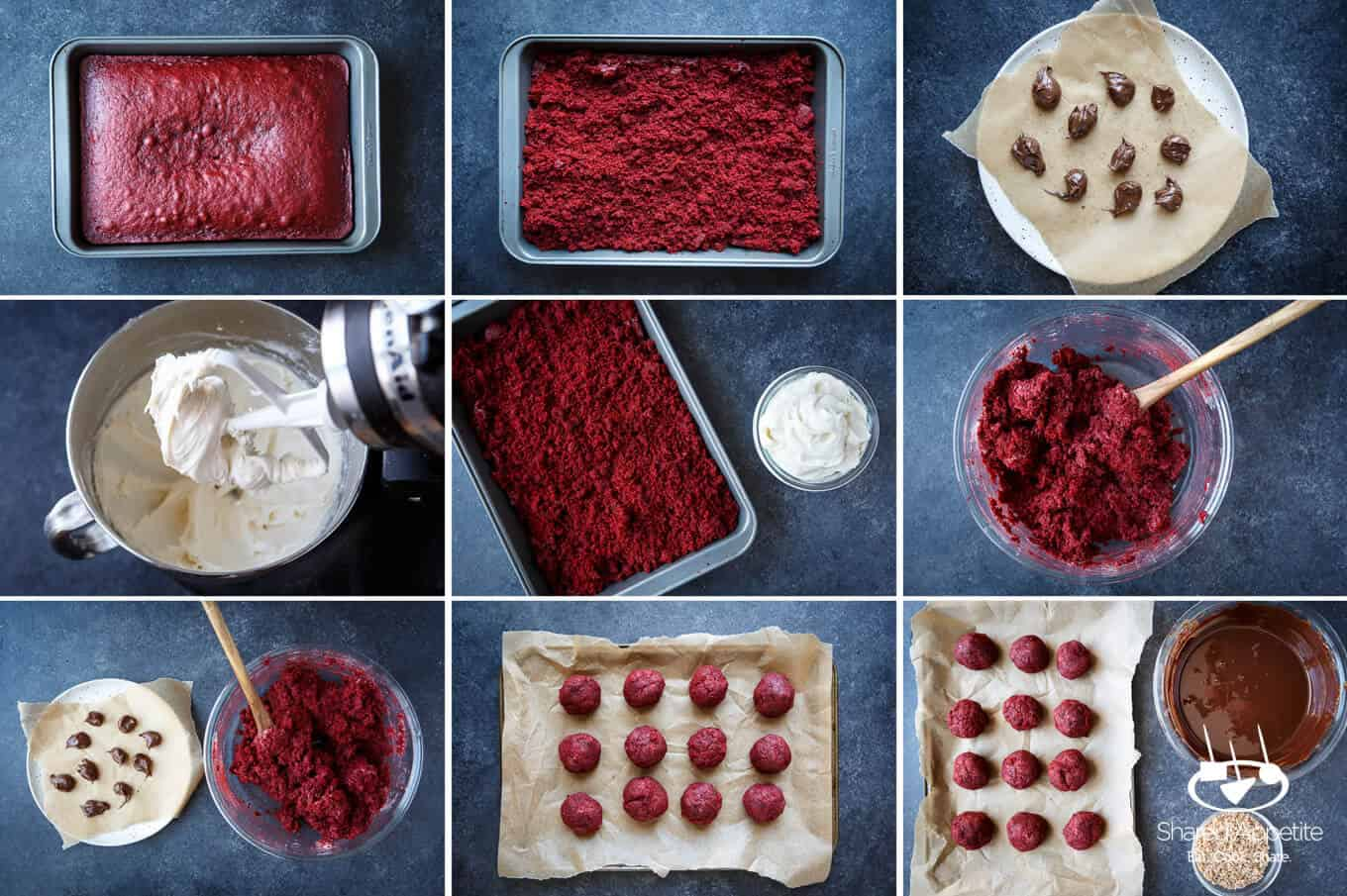 showing the process of how to make these Nutella Filled Red Velvet Cake Truffles | sharedappetite.com