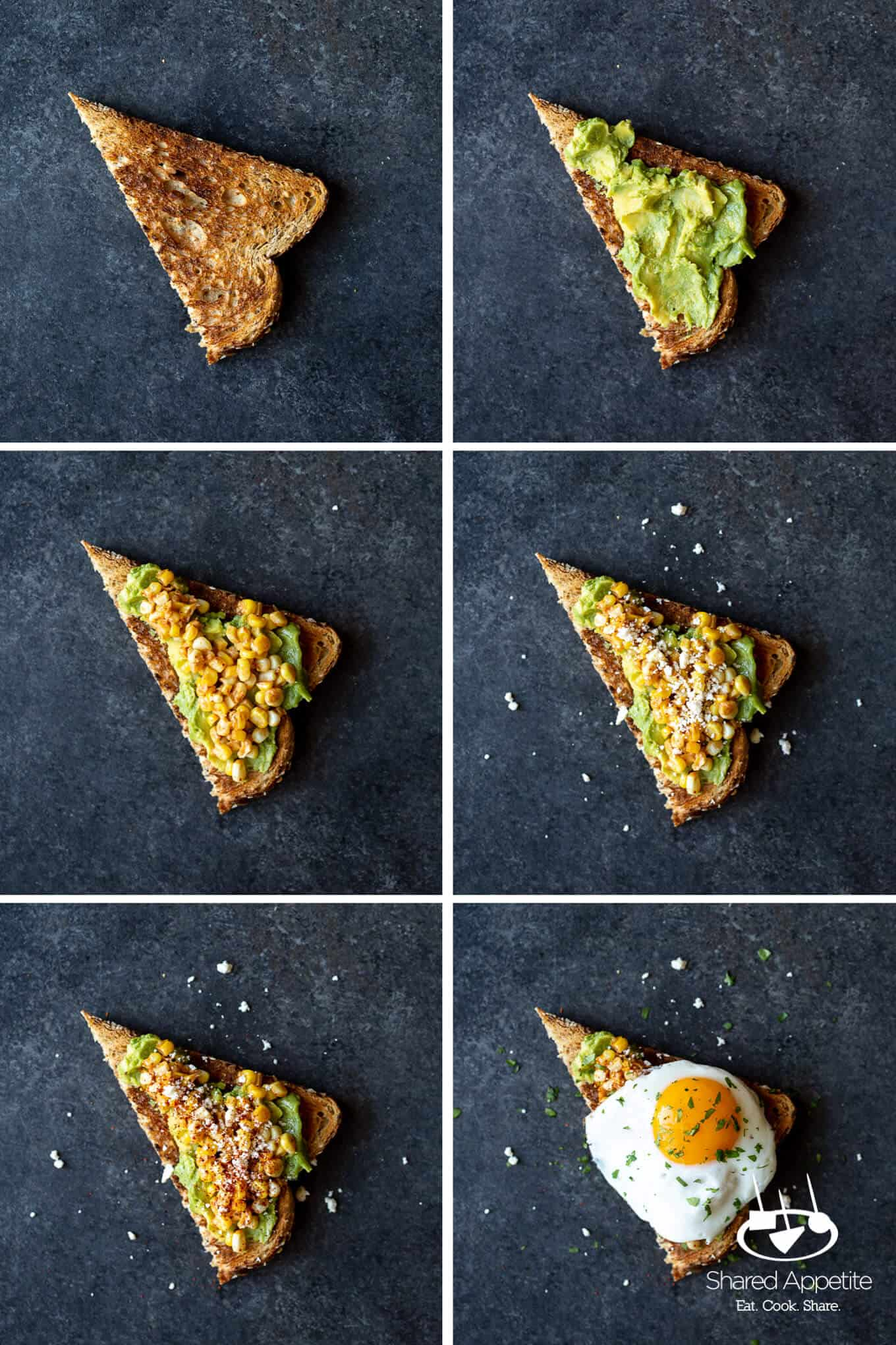 steps to making Elotes Avocado Toast with a Fried Egg | sharedappetite.com