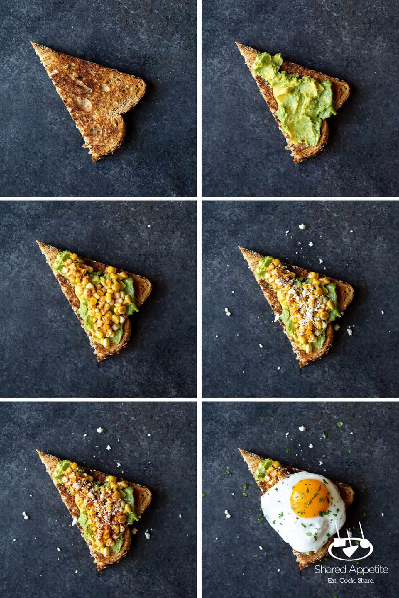 steps to making Elotes Avocado Toast with a Fried Egg   sharedappetite.com