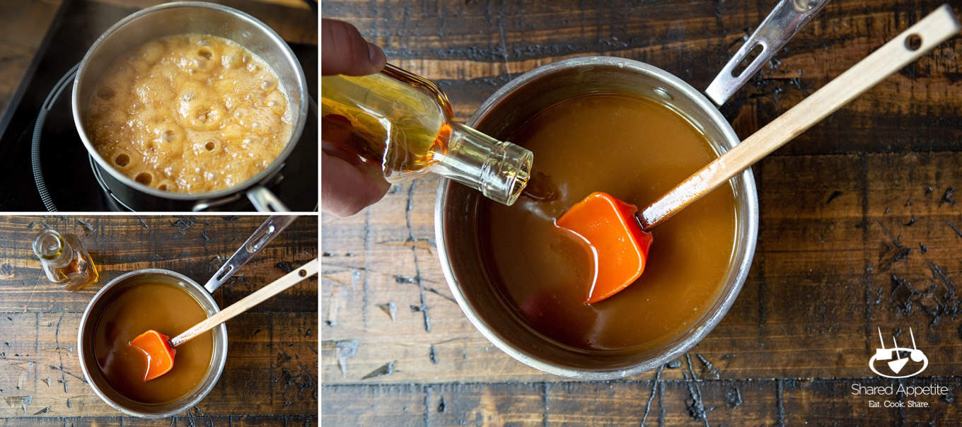 making whiskey caramel sauce for Candied Bacon Brownie Sundaes with Whiskey Caramel Sauce | sharedappetite.com