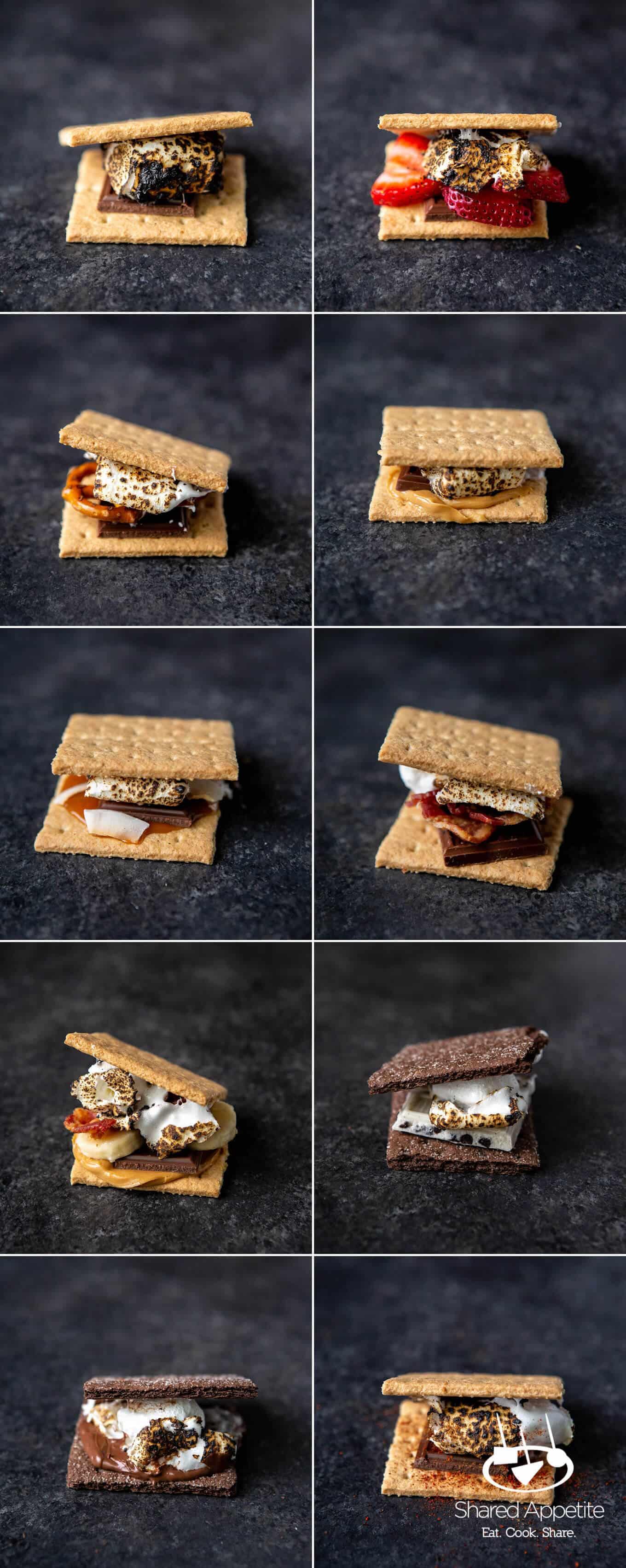 10 different s'mores variations for DIY S'MORES BAR PARTY | sharedappetite.com
