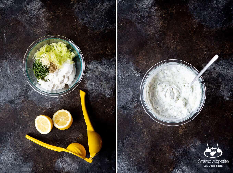making tzatziki for Greek Lamb Tacos | sharedappetite.com
