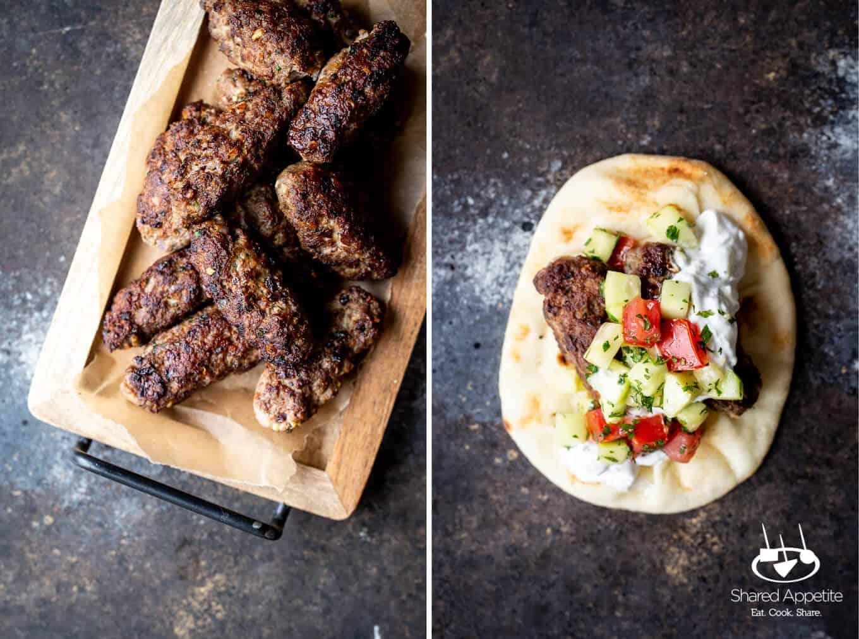 Lamb Kefta Kofta and upclose of Greek Lamb Tacos | sharedappetite.com