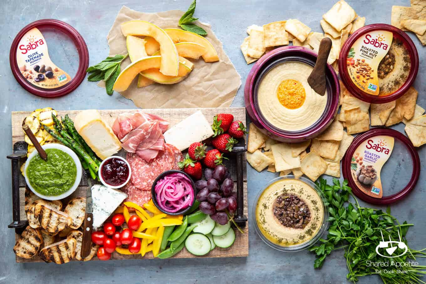 Sabra Hummus for How To Build A Summer Charcuterie Board | sharedappetite.com
