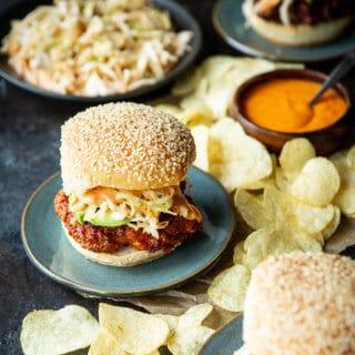 Korean Fried Chicken Sandwiches with Kimchi Slaw and Gochujang AIoli | sharedappetite.com
