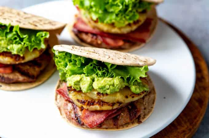 Hawaiian Turkey Burgers with Grilled Pineapple, Turkey Bacon, and Mashed Avocado | sharedappetite.com