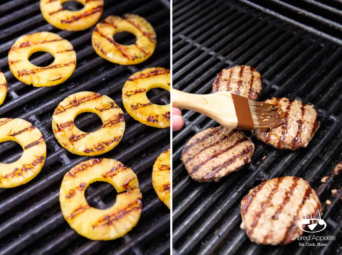 Hawaiian Turkey Burgers with Grilled Pineapple, Turkey Bacon, and Mashed Avocado | sharedappetite.com