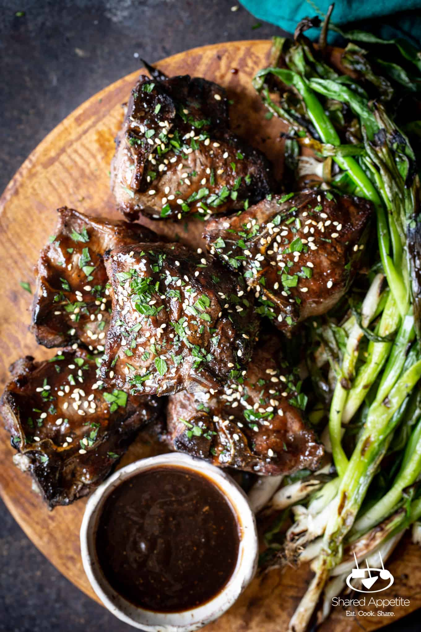 up close on Korean Lamb Chops with Grilled Scallions | sharedappetite.com