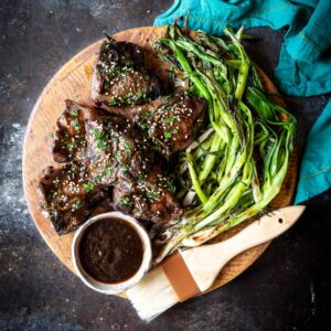 Korean Lamb Chops with Grilled Scallions