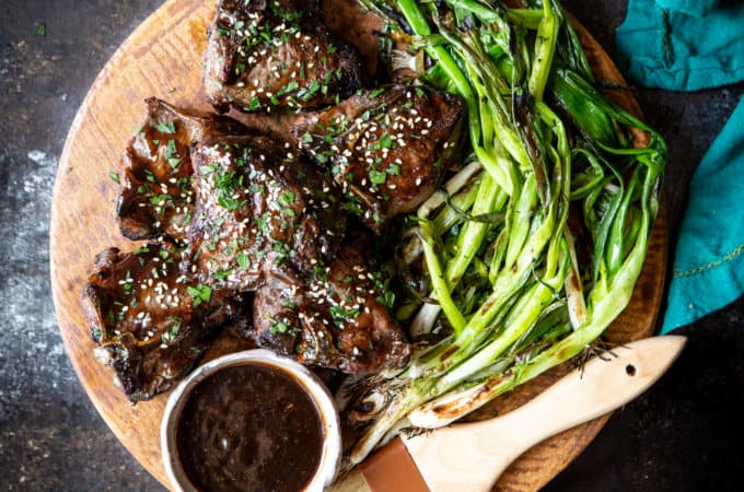 Korean Lamb Chops with Grilled Scallions   sharedappetite.com