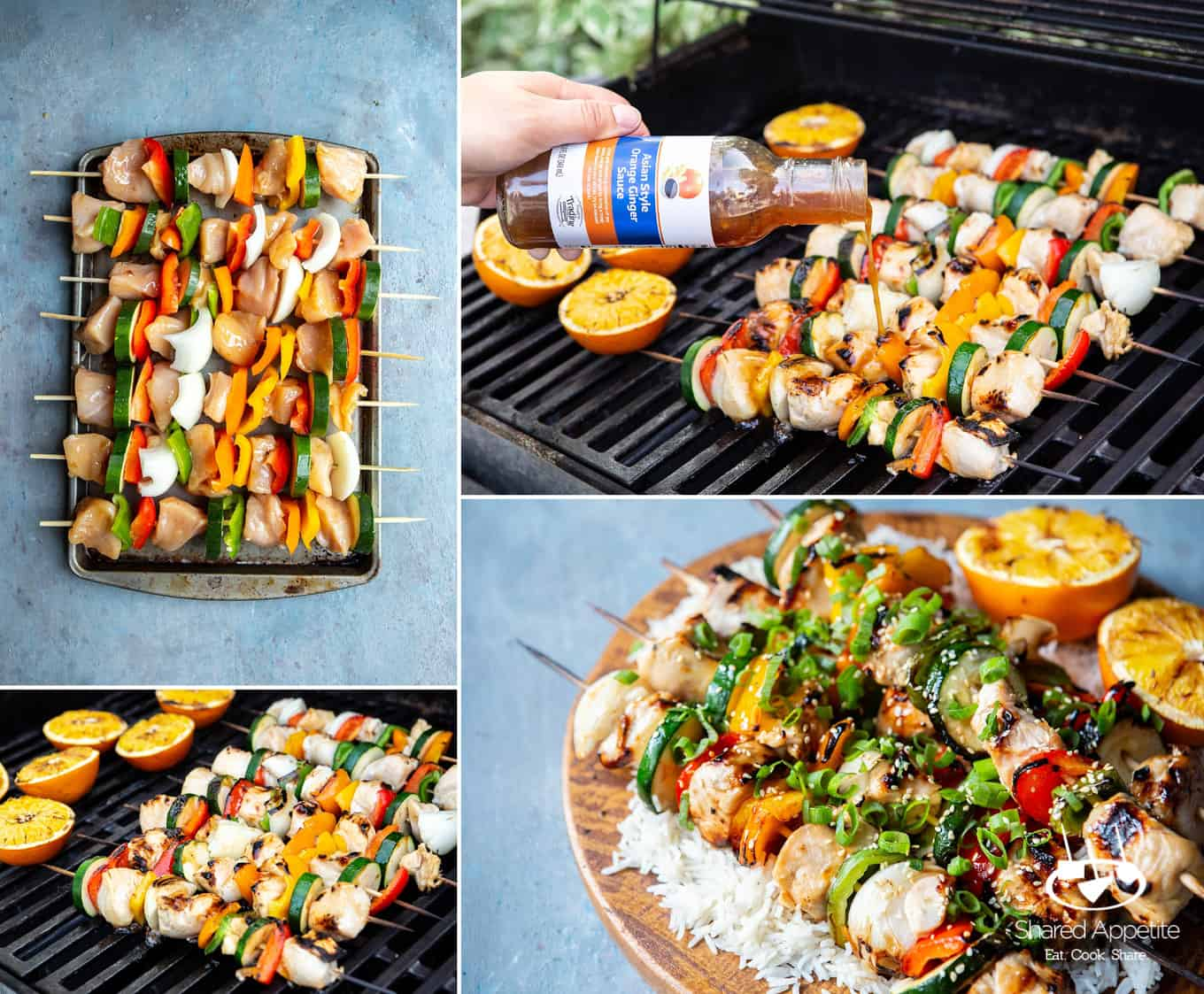 Orange Ginger Chicken Kebabs | sharedappetite.com