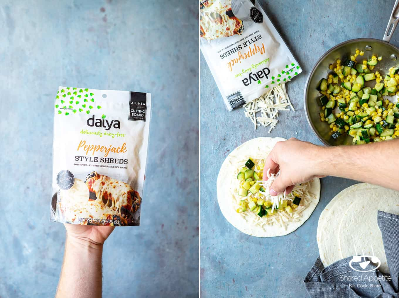 Sprinkling Daiya Vegan Pepperjack Cheese on Produce for Vegan Zucchini and Corn Quesadillas | sharedappetite.com