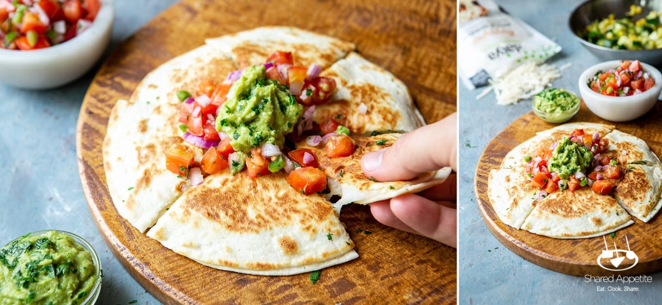 Pulling a piece of Produce for Vegan Zucchini and Corn Quesadillas | sharedappetite.com