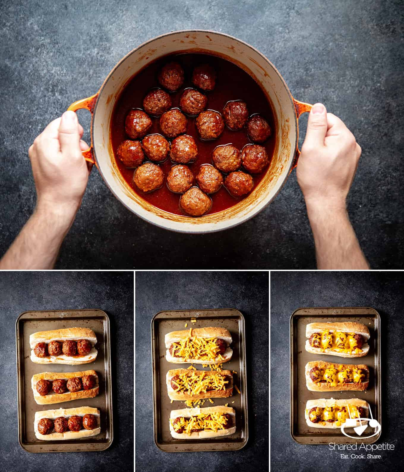making these bbq-meatball-subs-dr-pepper-bbq-sauce | sharedappetite.com