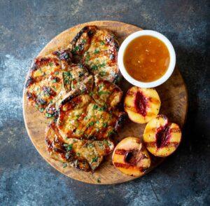 Peach Bourbon Glazed Pork Chops | sharedappetite.com