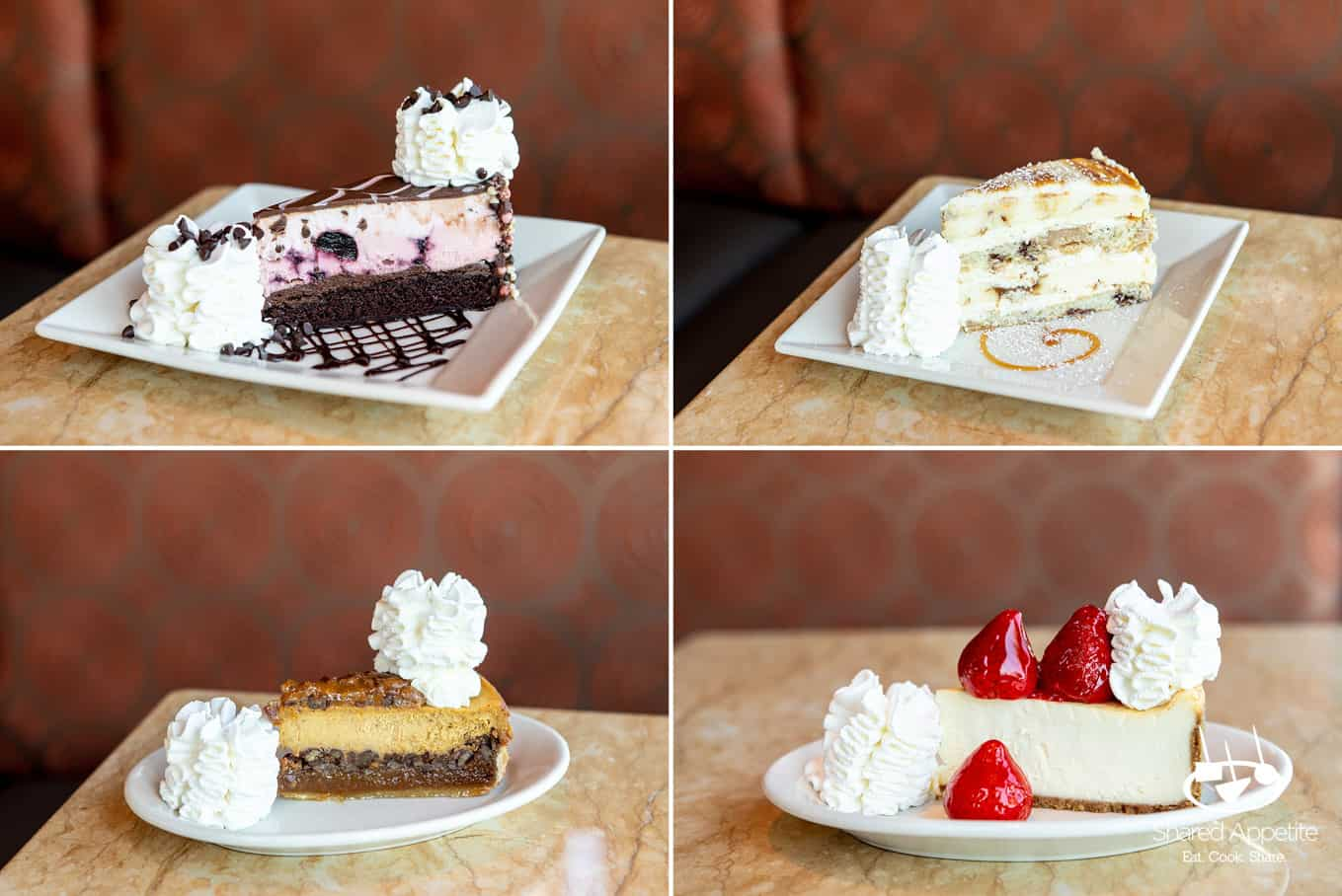 Four different cheesecakes at The Cheesecake Factory | sharedappetite.com