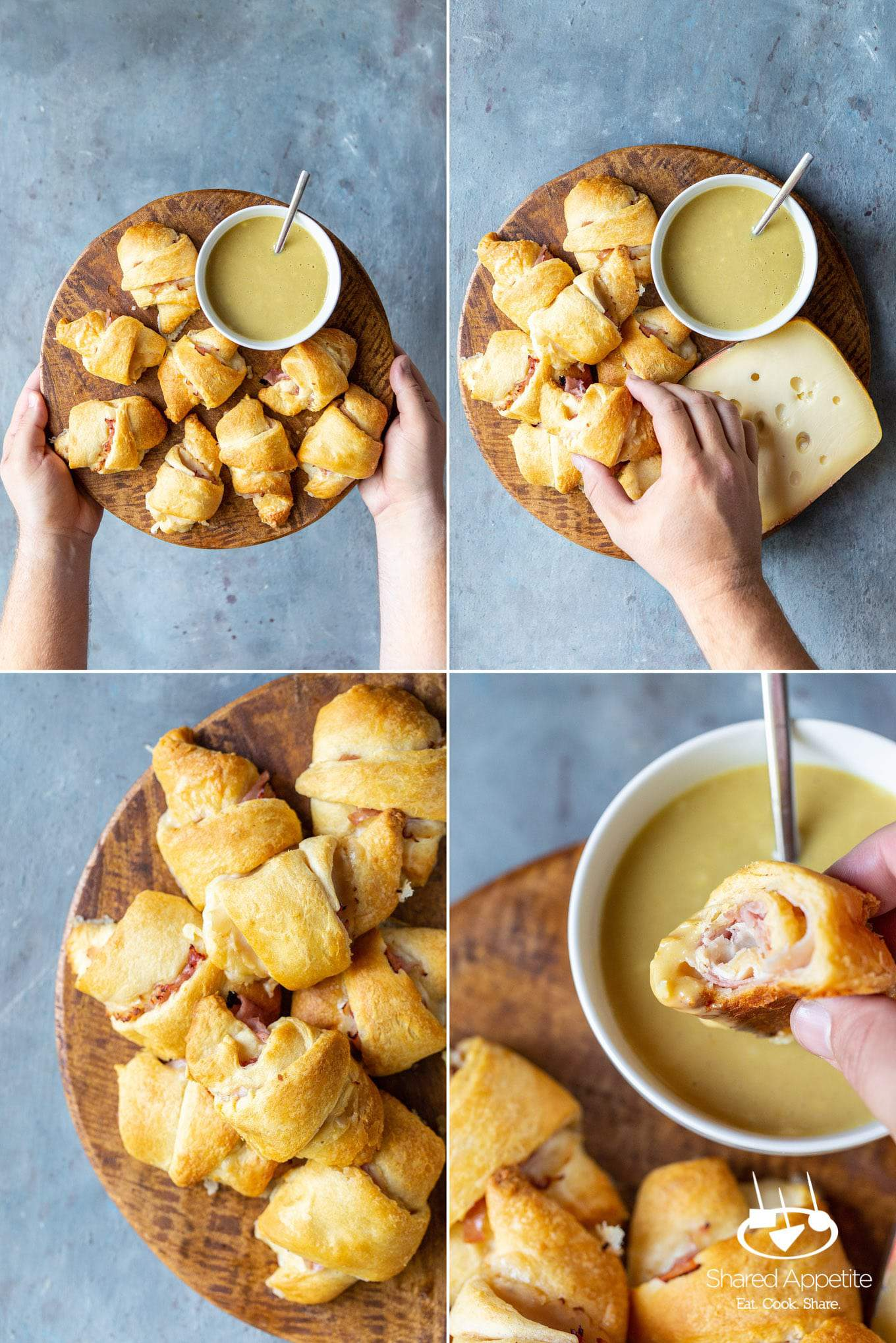 Dipping and eating Chicken Cordon Bleu Crescent Rolls