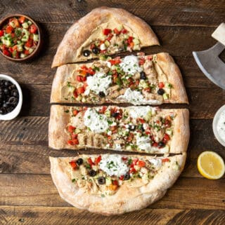 Greek Chicken Flatbread | sharedappetite.com