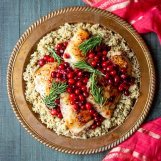 One Pan Cranberry Rosemary Chicken Thighs | sharedappetite.com