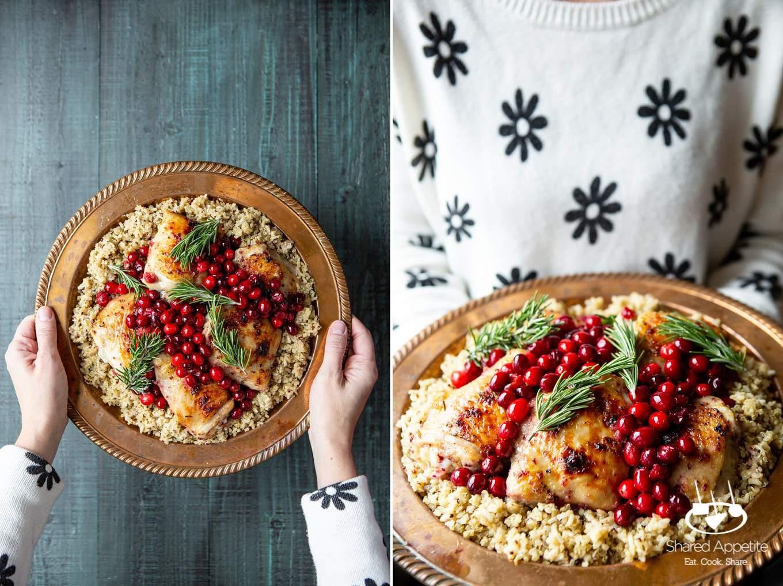 One Pan Cranberry Rosemary Chicken Thighs | sharedappetite.com