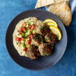 Greek Chicken Meatballs with Hummus and Israeli Salad | sharedappetite.com
