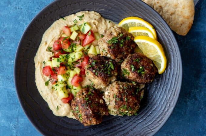 Greek Chicken Meatballs with Hummus and Israeli Salad | sharedappetite.com
