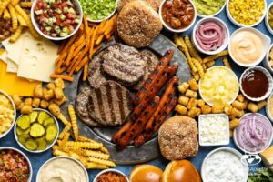 Summer BBQ Hot Dog and Burger Charcuterie Board | sharedappetite.com